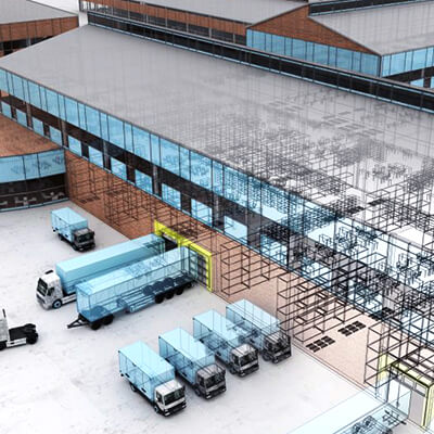 aerial view of a distribution center with trucks in front of it
