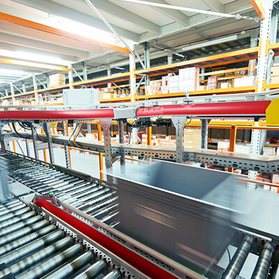 image of a container on a conveyor belt